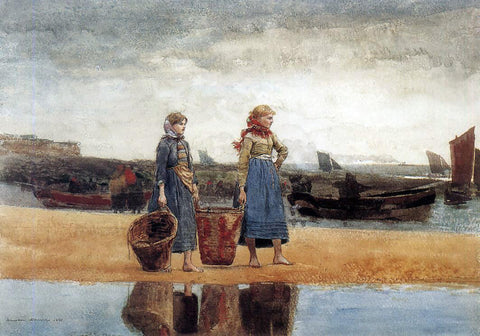 Winslow Homer Two Girls at the Beach, Tynemouth - Hand Painted Oil Painting