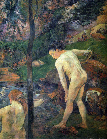 Paul Gauguin Two Girls Bathing - Hand Painted Oil Painting