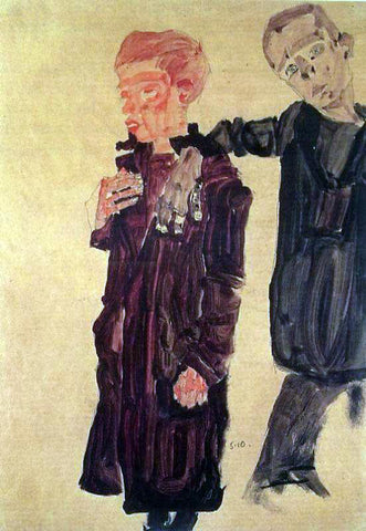 Egon Schiele Two Guttersnipes - Hand Painted Oil Painting