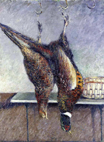 Gustave Caillebotte Two Hanging Pheasants - Hand Painted Oil Painting