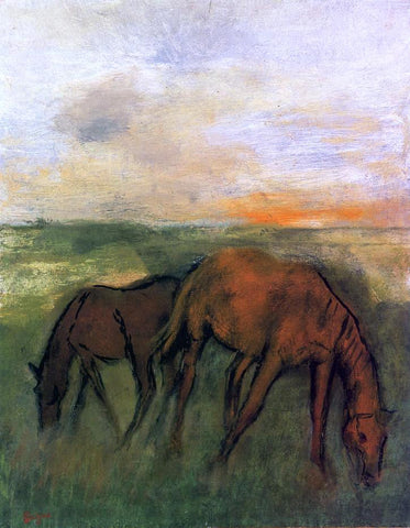 Edgar Degas Two Horses in a Pasture - Hand Painted Oil Painting