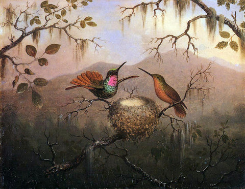 Martin Johnson Heade Two Hummingbirds at a Nest - Hand Painted Oil Painting
