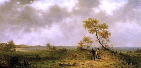 Martin Johnson Heade Two Hunters in a Landscape - Hand Painted Oil Painting