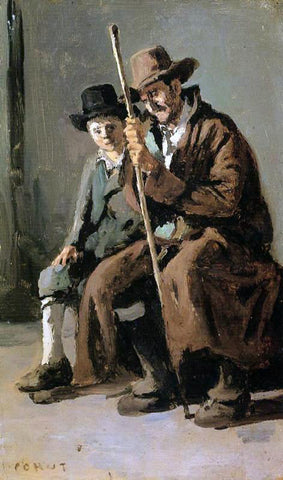 Jean-Baptiste-Camille Corot Two Italians, an Old Man and a Young Boy - Hand Painted Oil Painting