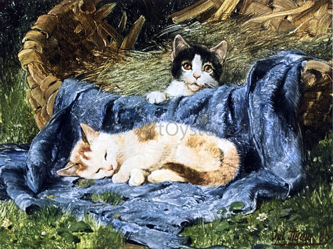Julius Adam Two Kittens - Hand Painted Oil Painting