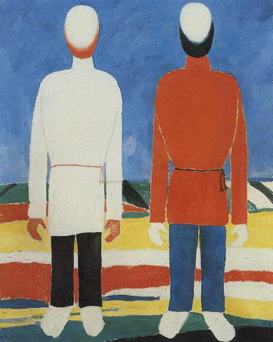 Kazimir Malevich Two Male Figures - Hand Painted Oil Painting