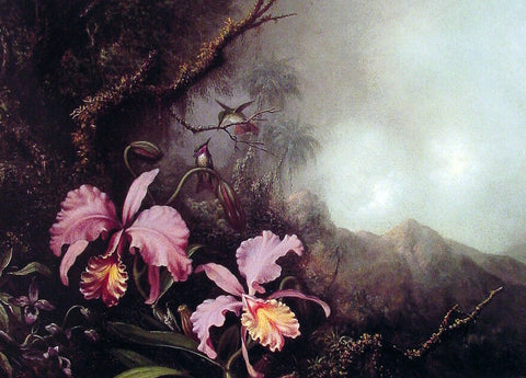 Martin Johnson Heade Two Orchids in a Mountain Landscape - Hand Painted Oil Painting