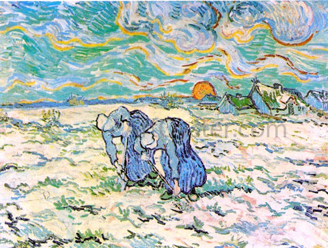 Vincent Van Gogh Two Peasant Women Digging in Field with Snow - Hand Painted Oil Painting