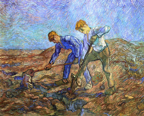 Vincent Van Gogh Two Peasants Diging (after Millet) - Hand Painted Oil Painting