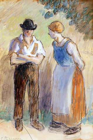 Camille Pissarro Two Peasants - Hand Painted Oil Painting