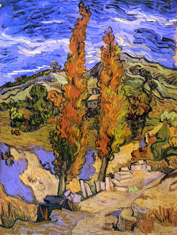 Vincent Van Gogh Two Poplars on a Road through the Hills - Hand Painted Oil Painting