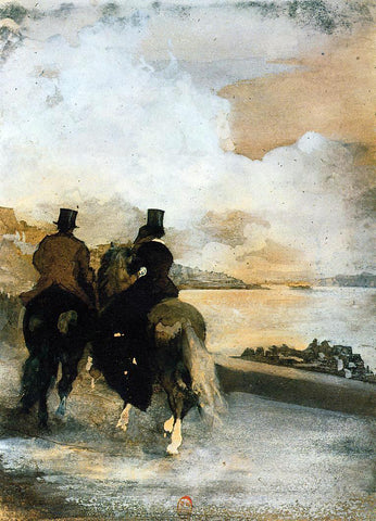 Edgar Degas Two Riders by a Lake - Hand Painted Oil Painting