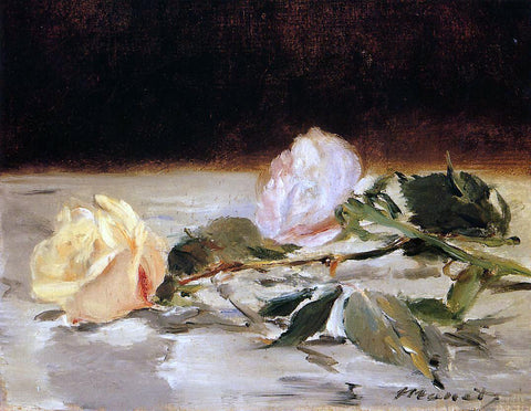 Edouard Manet Two Roses on a Tablecloth - Hand Painted Oil Painting