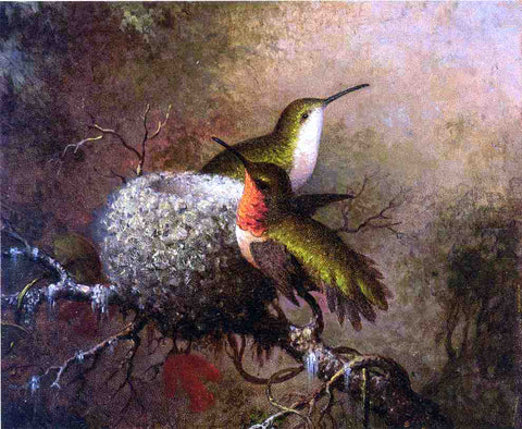 Martin Johnson Heade Two Ruby Throats by their Nest - Hand Painted Oil Painting