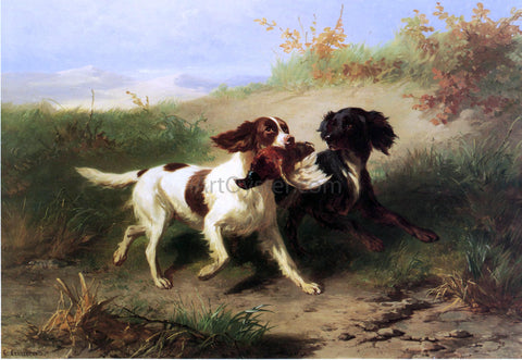 Condradyn Cunaeus Two Spaniels in a Landscape - Hand Painted Oil Painting