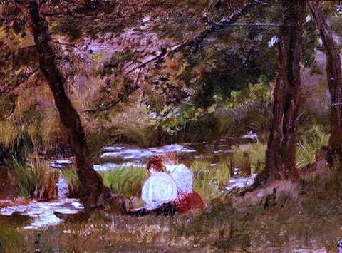 Mary Cassatt Two Women Seated by a Woodland Stream - Hand Painted Oil Painting