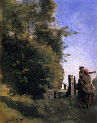 Jean-Baptiste-Camille Corot Two Women Talking by a Gate - Hand Painted Oil Painting