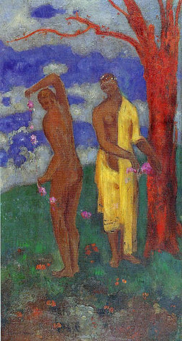 Odilon Redon Two Women Under a Red Tree - Hand Painted Oil Painting