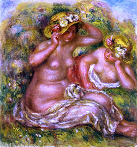 Pierre Auguste Renoir Two Women with Flowered Hat - Hand Painted Oil Painting