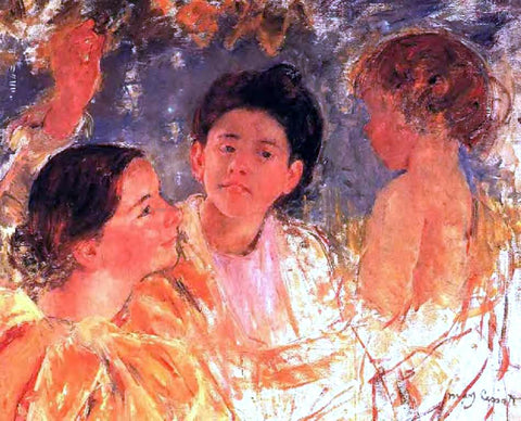 Mary Cassatt Two Young Girls with a Child - Hand Painted Oil Painting