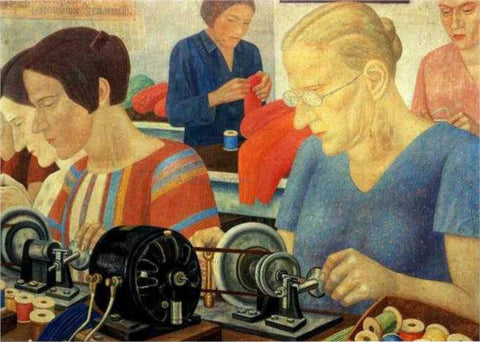 Pavel Filonov Udarnitzi Record Breaking Workers at the Factory Krasnaya Zaria - Hand Painted Oil Painting