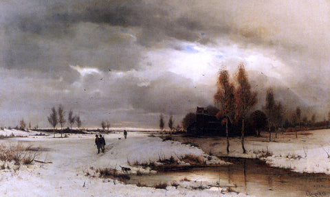 Ludwig Lanckow Under A Winter Sky - Hand Painted Oil Painting