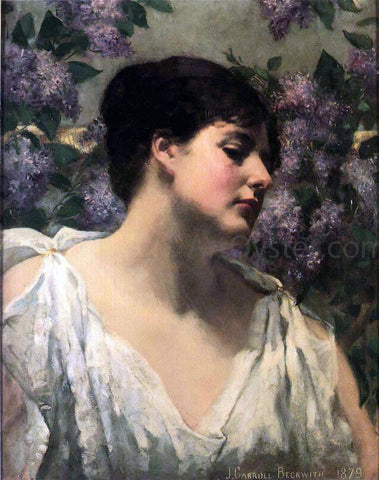 James Carroll Beckwith Under the Lilacs - Hand Painted Oil Painting