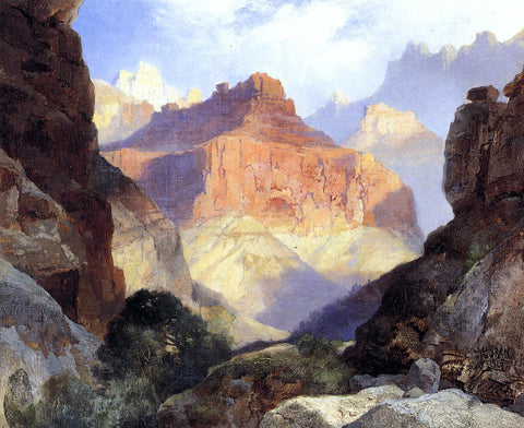 Thomas Moran Under the Red Wall, Grand Canyon of Arizona - Hand Painted Oil Painting