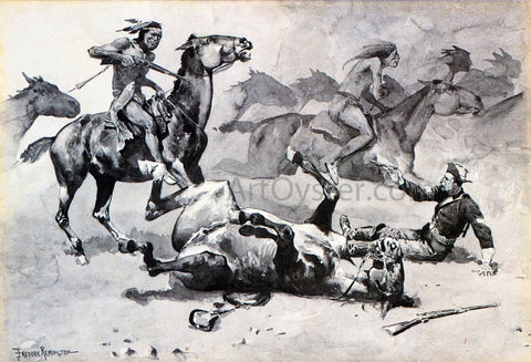 Frederic Remington Unhorsed - Hand Painted Oil Painting