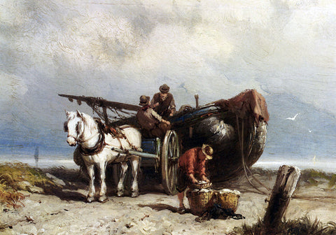 Johannes Hermanus Koekkoek Unloading The Catch - Hand Painted Oil Painting
