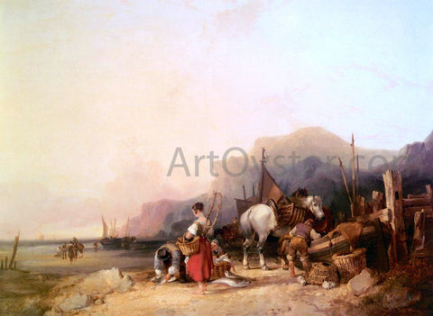 Senior William Shayer Unloading The Catch, Near Benchurch, Isle Of Wight - Hand Painted Oil Painting