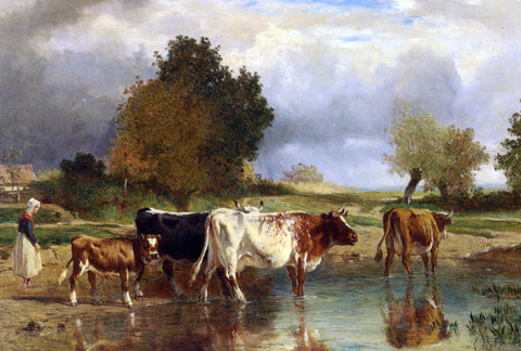 Constant Troyon Vaches at veau a la marne - Hand Painted Oil Painting