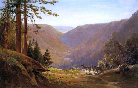 Thomas Hill A Valley with Deer - Hand Painted Oil Painting