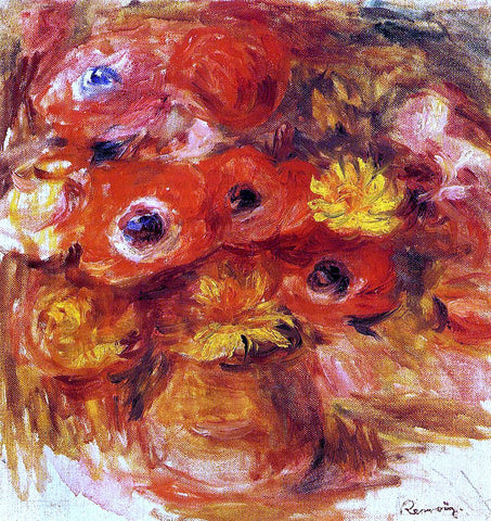 Pierre Auguste Renoir Vase of Anemones - Hand Painted Oil Painting