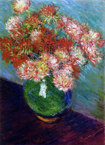 Claude Oscar Monet Vase of Chrysanthemums - Hand Painted Oil Painting
