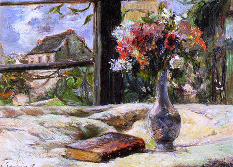 Paul Gauguin Vase of Flowers and Window - Hand Painted Oil Painting