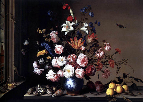 Balthasar Van der Ast Vase of Flowers by a Window - Hand Painted Oil Painting