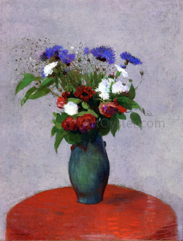 Odilon Redon Vase of Flowers on a Red Tablecloth - Hand Painted Oil Painting