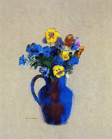 Odilon Redon Vase of Flowers - Pansies - Hand Painted Oil Painting