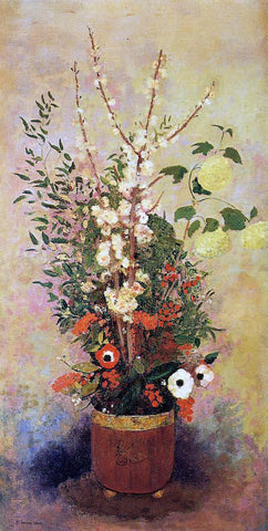 Odilon Redon Vase of Flowers with Branches of a Flowering Apple Tree - Hand Painted Oil Painting