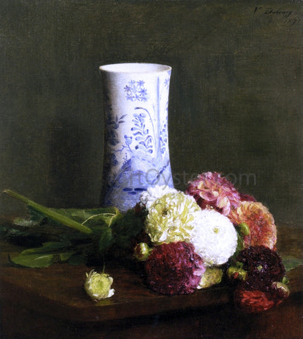Victoria Dubourg Fantin-Latour Vase of Zinias - Hand Painted Oil Painting