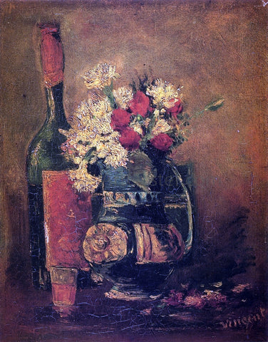 Vincent Van Gogh Vase with Carnations and Bottle - Hand Painted Oil Painting