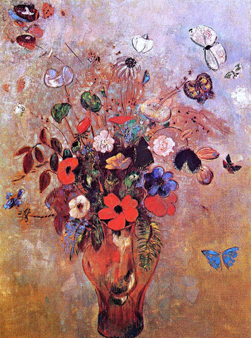 Odilon Redon Vase with Flowers and Butterflies - Hand Painted Oil Painting