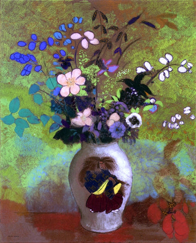 Odilon Redon Vase with Japanese Warrior - Hand Painted Oil Painting
