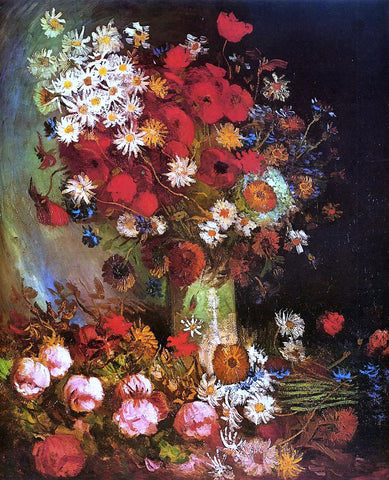 Vincent Van Gogh Vase with Poppies, Cornflowers, Peonies and Chrysanthemums - Hand Painted Oil Painting