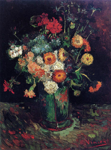 Vincent Van Gogh Vase with Zinnias and Geraniums - Hand Painted Oil Painting