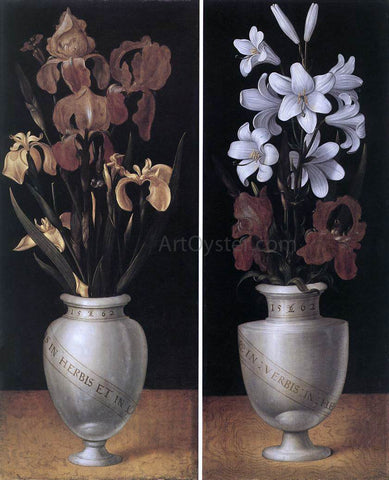 The Younger Ludger Tom  Ring Vases of Flowers - Hand Painted Oil Painting