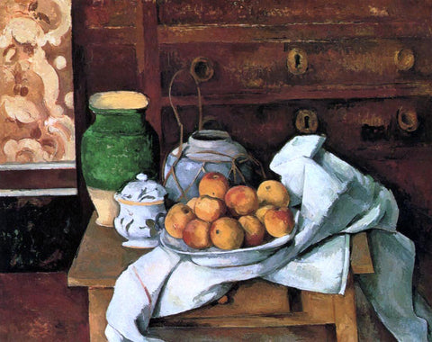 Paul Cezanne Vessels, Fruit and Cloth in front of a Chest - Hand Painted Oil Painting