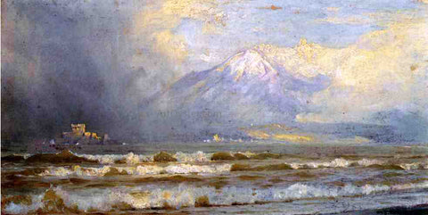 William Trost Richards Vesuvius in Winter - Hand Painted Oil Painting