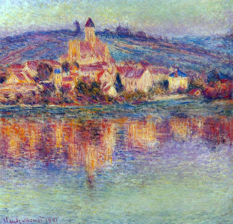 Claude Oscar Monet Vetheuil at Sunset - Hand Painted Oil Painting